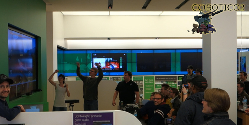 People enjoy COBOTICO2, our new Kinect v2 game at the Colorado Microsoft Store